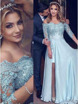 A-Line Off-the-Shoulder 3/4 Sleeves Slit Leg Light Blue Prom Dress