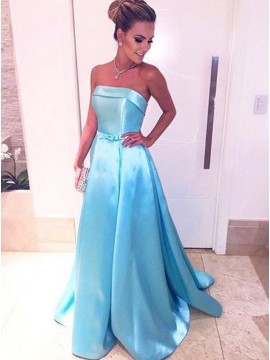 A-Line Strapless Sweep Train Blue Prom Dress with Sashes