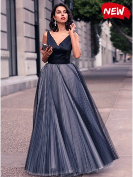 A-Line V-Neck Dark Navy Long Prom Dress with Sashes