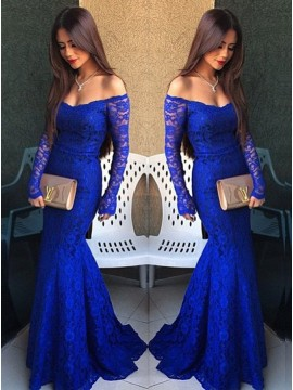 Mermaid Off-the-Shoulder Long Sleeves Prom Dress with Train