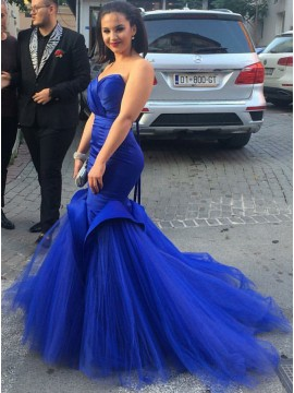 Mermaid Sweetheart Royal Blue Gorgeous Prom Dress with Tulle Train