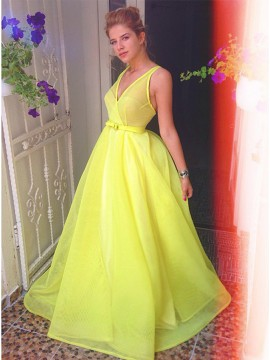A-Line V-Neck Yellow Gorgeous Organza Prom Dress with Sashes