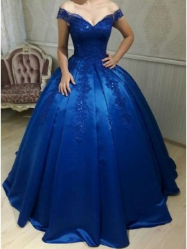 Ball Gown Off-the-Shoulder Royal Blue Beaded Prom Dress with Appliques