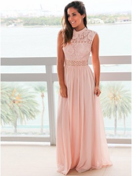 A-Line Jewel Floor-Length Simple Pink Prom Dress with Lace
