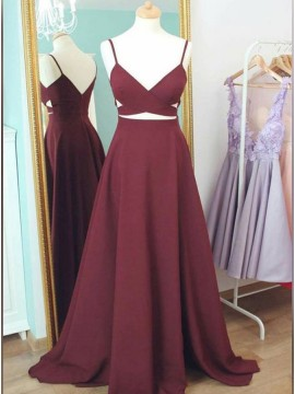 A-Line Satin Spaghetti Straps Long Burgundy Prom Dress