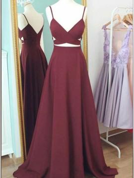 A-Line Satin Spaghetti Straps Long Burgundy Prom Dress