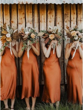 Simple Spaghetti Straps Rust Color Boho Bridesmaid Dress