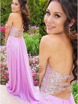 A-Line Sweetheart Side-Zipper Lavender Prom Dress with Appliques