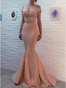 Mermaid Off-the-Shoulder Pearl Pink Beaded Prom Dress with Appliques