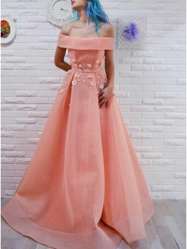 A-Line Off-the-Shoulder Peach Long Prom Dress with Appliques