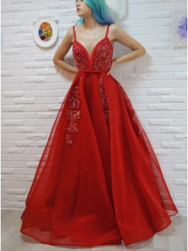 A-Line Spaghetti Straps Red Beaded Prom Dress with Appliques Sashes