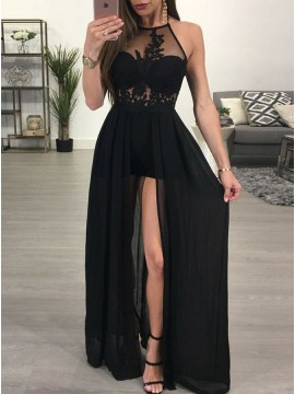 A-Line Halter Slit Leg Sexy Black Prom Dress with Lace