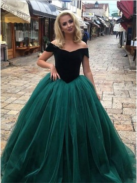 Ball Gown Off-the-Shoulder Dark Green Gorgeous Prom Dress