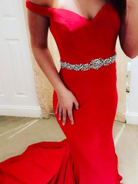 Mermaid Off-the-Shoulder Sweep Train Red Beaded Prom Dress
