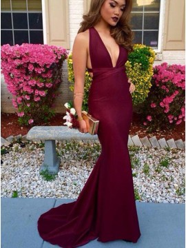 Mermaid V-Neck Criss-Cross Straps Burgundy Convertible Prom Dress
