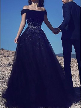 A-Line Off-the-Shoulder Dark Navy Prom Dress with Sequins