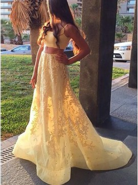 Two Piece Square Yellow Beaded Gorgeous Prom Dress with Appliques