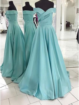 A-Line Off-the-Shoulder Light Blue Ruched Satin Prom Dress