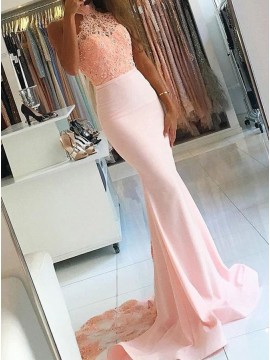 Mermaid High Neck Sweep Train Beaded Pearl Pink Prom Dress with Lace