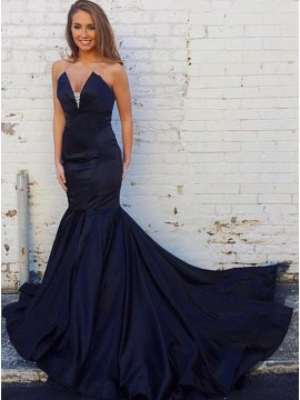 Mermaid Sweetheart Sweep Train Beaded Dark Navy Prom Dress