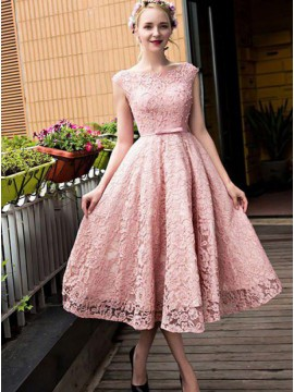 A-Line Bateau Tea-Length Pink Lace Prom/Homecoming Dress with Sashes