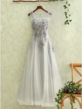 A-Line Round Neck Open Back Gray Prom Dress with Appliques