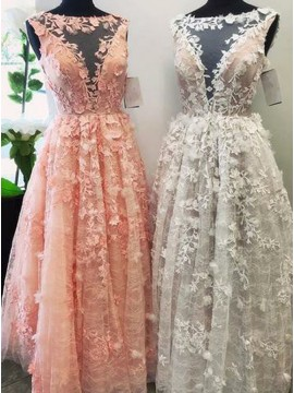 A-Line Bateau Floor-Length Pink White Prom Dress with Appliques