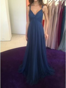 A-Line Straps Open Back Dark Blue Prom Dress with Pleats