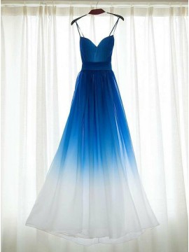 A-Line Spaghetti Straps Long Ombre Blue Prom Dress with Pleats