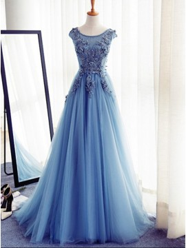 A-Line Round Neck Cap Sleeves Blue Tulle Prom Dress with Appliques