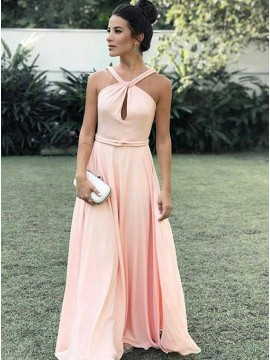 A-Line Straps Keyhole Pearl Pink Chiffon Prom Dress with Sash
