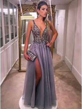 A-Line Deep V-neck Slit Leg Beaded Sexy Grey Prom Dress