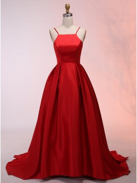 Ball Gown Spaghetti Straps Sweep Train Red Prom Dress with Pleats
