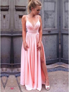 A-Line Spaghetti Straps Slit Leg Pink Prom Dress with Pleats