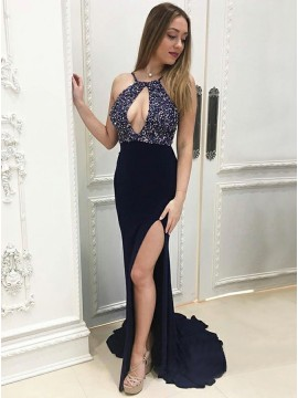 Mermaid Crew Sweep Train Navy Blue Beaded Prom Dress with Keyhole Split