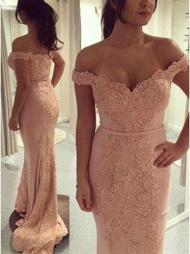 Mermaid Off-the-Shoulder Pink Prom Dress with Lace Sequins Sash