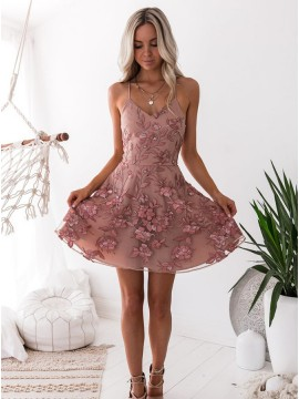 A-Line Spaghetti Straps Short Blush Homecoming Dress with Embroidery