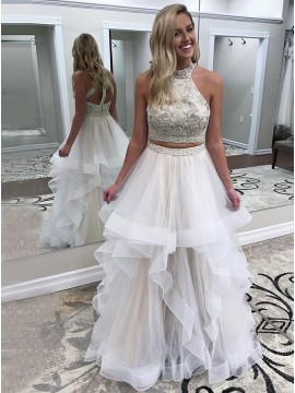 Two Piece High Neck Open Back White Tiered Prom Dress with Beading