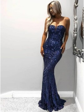 Mermaid Strapless Long Navy Blue Prom Dress with Sequin Evening Dress