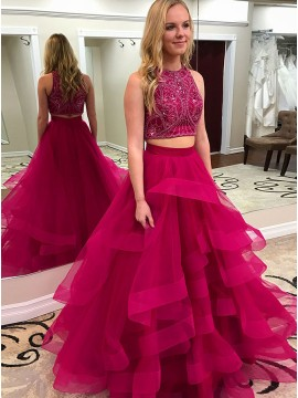 Two Piece Crew Floor-Length Fuchsia Tiered Prom Dress with Beading