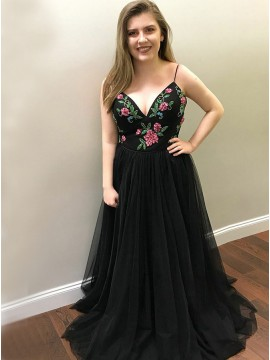 A-Line Spaghetti Straps Floor-Length Black Prom Dress with Beading