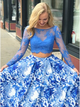 Two Piece Bateau Long Sleeves Blue Printed Prom Dress with Lace Beading