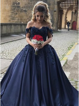 Ball Gown Off-the-Shoulder Navy Blue Beaded Satin Prom Dress with Appliques