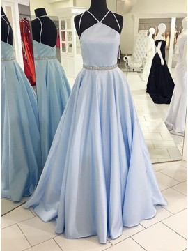 A-Line Halter Floor-Length Open Back Light Blue Satin Prom Dress with Beading