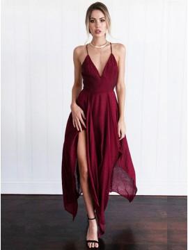 A-Line Spaghetti Straps Sexy Asymmetrical Burgundy Prom Dress