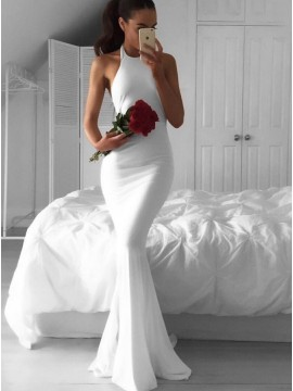 Mermaid Halter Backless Ruched Sexy White Chiffon Prom Dress