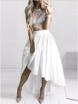 Two-Piece Jewel Cap Sleeves Hi-Lo White Prom Homecoming Dress with Lace