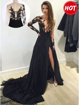 A-Line V-Neck Long Sleeves Split Leg Black Chiffon Prom Dress with Appliques