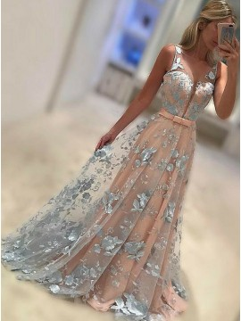 A-Line Bateau Floor-Length Peach Tulle Prom Dress with Appliques Sash