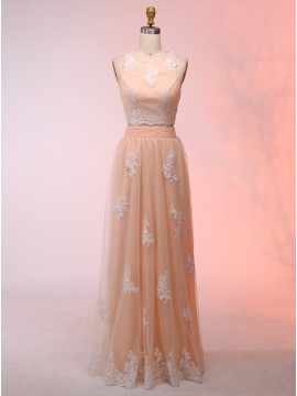 Two Piece Round Neck Pearl Pink Prom Dress with Appliques